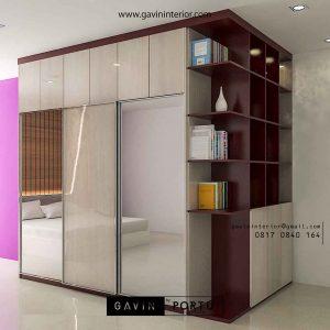 model lemari pakaian pintu geser minimalis dengan cermin by Gavin Furniture id3177