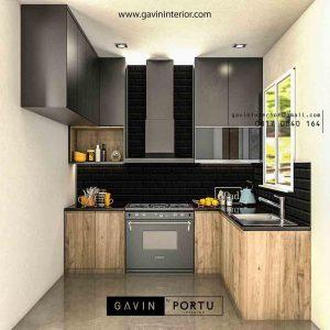 desain lemari dapur motif kayu dengan mini bar di Bogor id3456