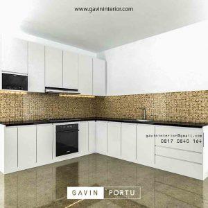 design lemari set dapur minimalis modern warna putih di Bekasi id3423