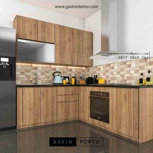 gambar lemari dapur coklat minimalis project di cibubur id3406