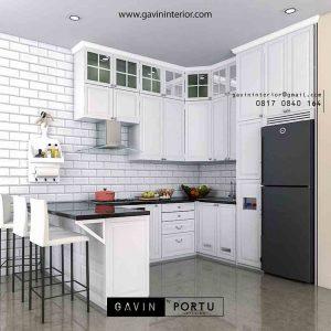 kitchen set klasik putih dengan meja bar project Jombang Ciputat id2264