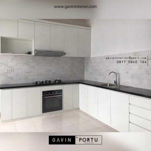 lemari set dapur minimalis letter L project di Bekasi id3423