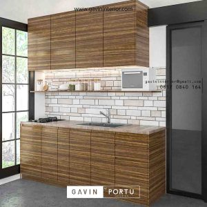 design kitchen set minimalis bentuk i warna coklat Gavin by Portu id3498