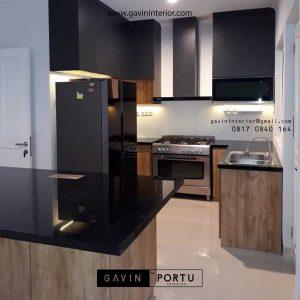 gambar kitchen set serat kayu coklat minimalis di Bogor id3456