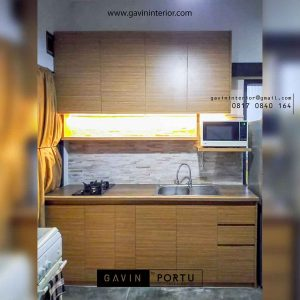 kitchen set minimalis bentuk i kecil warna coklat project Bintaro id3498