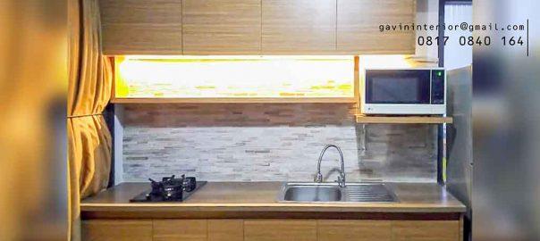 kitchen set minimalis bentuk i kecil warna coklat project Bintaro id3498