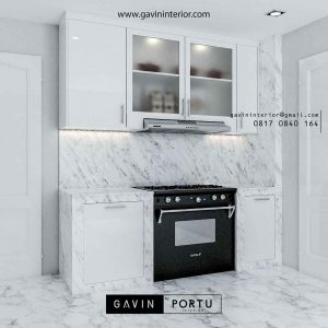 contoh model kitchen set letter i warna putih by Gavin id3444