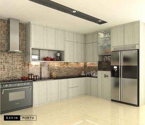 design lemari dapur hpl letter l project bintaro id3414