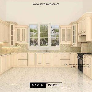 contoh gambar kitchen set klasik dengan island di Bintaro id2524