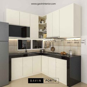 contoh model kitchen set minimalis letter L project BSD id3520