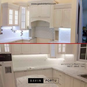 gambar kitchen set klasik bentuk u project di Bintaro id2524