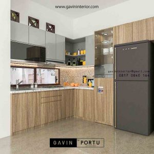 contoh kitchen set dapur design minimalis bentuk l Gavin by Portu id3564