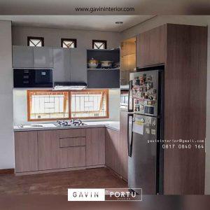 contoh kitchen set dapur motif kayu project di bekasi id3564