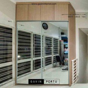 contoh lemari sliding full cermin minimalis di Kebayoran Residences id3547