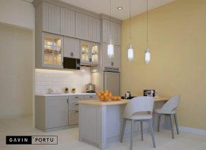 contoh model kitchen set semi klasik dengan meja island id3491