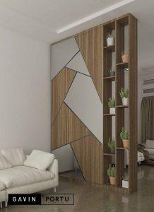 design partisi kombinasi cermin untuk ruang tamu Gavin by Portu id3604