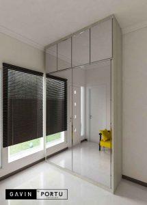 lemari sliding full cermin model minimalis di kebayoran residences id3547