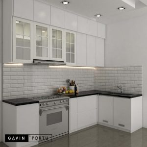 model kitchen set warna putih bentuk L by Gavin id3435