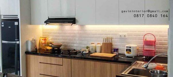 contoh desain kitchen set hpl minimalis kombinasi warna di Bogor id3696