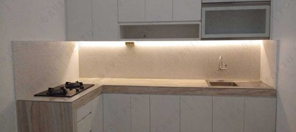 jual kitchen set minimalis bentuk L warna putih Gavin by Portu id3253