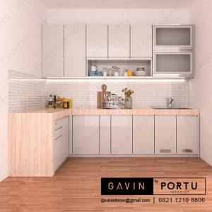 jual kitchen set minimalis bentuk l project Pondok Pinang id3253