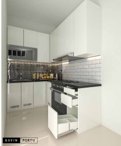 kitchen set design minimalis finishing hpl bentuk L di Cipayung id3598
