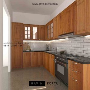 contoh design kitchen set klasik warna natural di Jagakarsa id3851