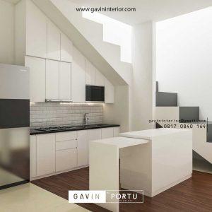 design kitchen set minimalis bawah tangga dengan meja island id3612