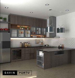 kitchen set design modern minimalis dengan meja island di Larangan id3695
