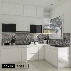 model kitchen set minimalis terbaru letter L by Gavin id3708