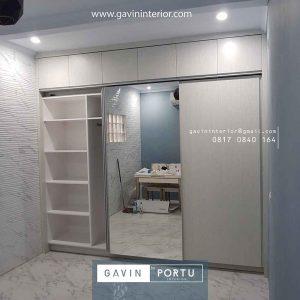 desain lemari pakaian sliding 2 pintu kombinasi cermin id3914
