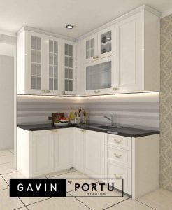 design kitchen set warna putih semi klasik Gavin by Portu id3954