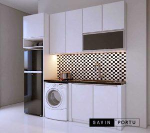 jual lemari dapur minimalis hpl putih bentuk i di Cawang id3870