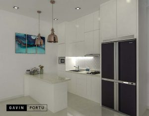 kitchen set design minimalis modern dengan island Gavin by Portu id3788
