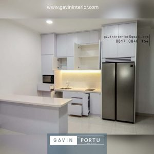 model kitchen set design minimalis modern dan island di Metland Menteng id3788