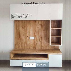 backdrop tv minimalis modern kombinasi warna project di Gading Serpong id3937