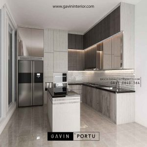 buat kitchen set minimalis modern letter l dengan island id3712