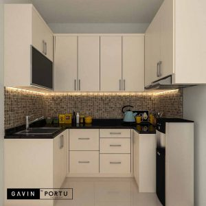 contoh gambar kitchen set minimalis letter u di Kebayoran id3645