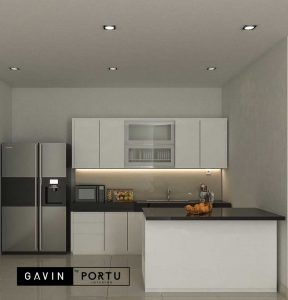 gambar kitchen set minimalis murah bentuk i dan island project Cibubur id3925
