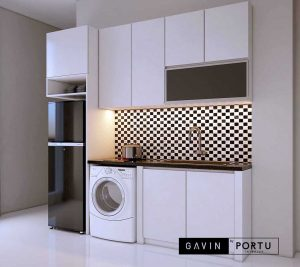 jual kitchen set minimalis murah dengan kabinet kulkas custom id3870