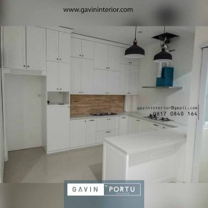 buat kitchen set duco putih model letter u di Jonggol id3156