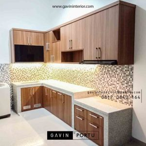 contoh model kitchen set minimalis letter L warna coklat id4024
