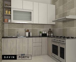 gambar design kitchen set minimalis letter L Gavin by Portu id4052