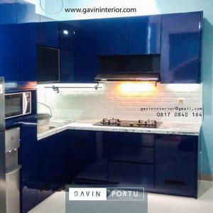 contoh kitchen set dark blue minimalis modern letter L di Ciputat id4065
