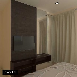 design backdrop tv minimalis modern di Bintaro Gavin by Portu id4023