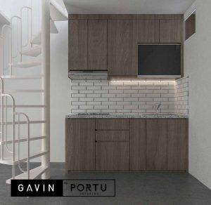 jual kitchen set murah letter i di bawah tangga Gavin by Portu id4103