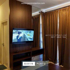 model backdrop tv minimalis modern nuansa coklat di Bintaro id4023