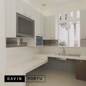 pembuatan kitchen set letter u design minimalis warna putih id4102