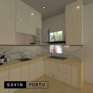 contoh gambar kitchen set terbaru letter L Gavin by Portu id4091