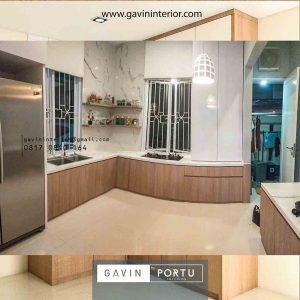 gambar lemari dapur bahan hpl model letter L Gavin by Portu id4174
